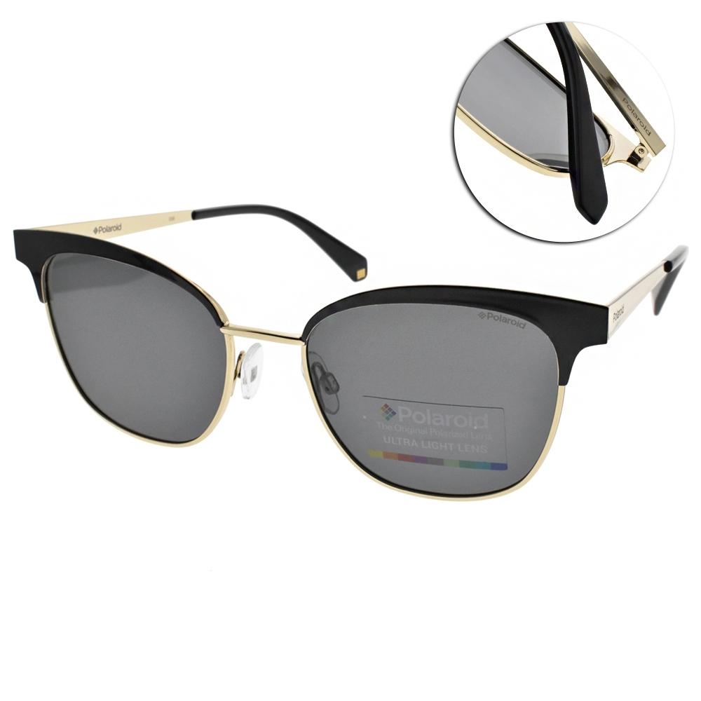Polaroid 偏光太陽眼鏡 修飾小臉貓眼款/黑金 #PLD4055S 2O5M9