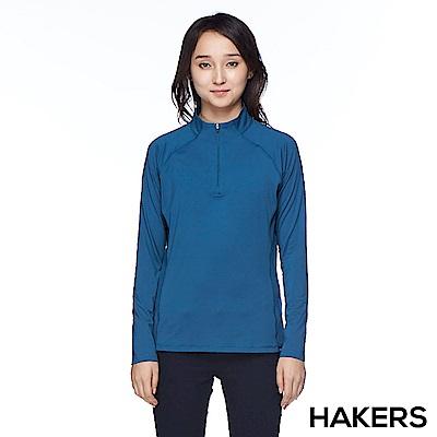 【HAKERS】女款 半開襟舒適排汗衫(陶瓷藍)