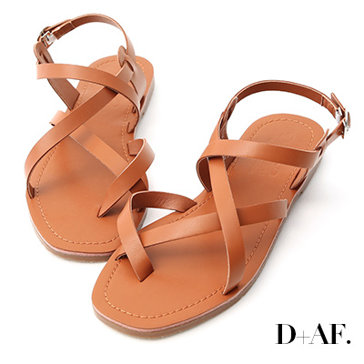 D+AF 隨性搭配.交叉套指方頭平底涼鞋*棕