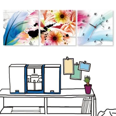 [全新展示品] 美學365 三聯式 時鐘掛畫無框畫-羽毛花卉 40x40cm