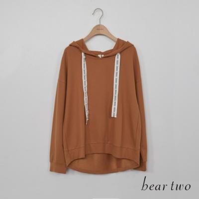 beartwo - 珠珠織帶抽繩連帽上衣 - 咖啡