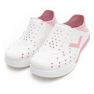 PONY ENJOY明星款洞洞鞋踩後跟涼鞋拖鞋中性粉