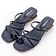 River&Moon涼鞋 交叉細帶套指方頭低跟涼鞋-深藍 product thumbnail 1