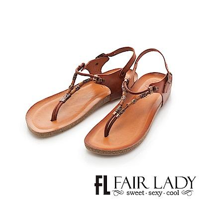 Fair Lady PORRONET 金屬串飾皮革夾腳涼拖鞋 棕