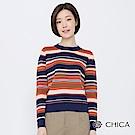 CHICA 繽紛堆疊撞色條紋圓領針織衫(2色)