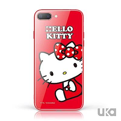 三麗鷗 HelloKitty iPhone 7+/8+ 9H鋼化玻璃彩繪背蓋 - 坐姿凱蒂 @ Y!購物
