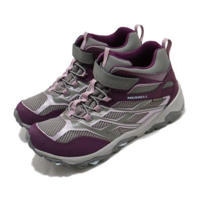 Merrell 戶外鞋 Moab FST Waterproof 童鞋 登山 越野 運動 魔鬼氈 耐磨 中大童 紫 灰 MK164172
