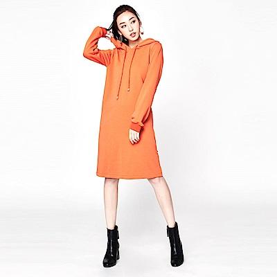SUITANGTANG 拉鍊造型長版帽T-橘