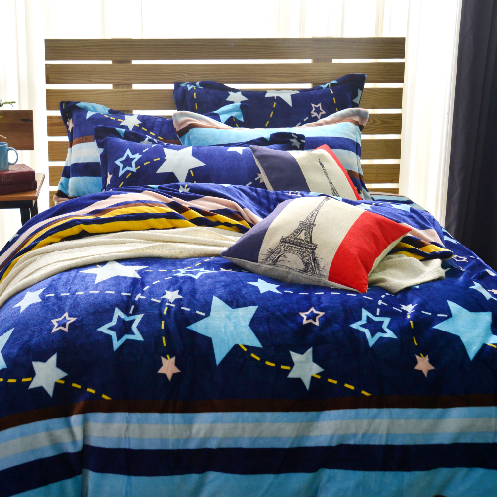 Grace Life 流星 加大法蘭絨被套床包四件組