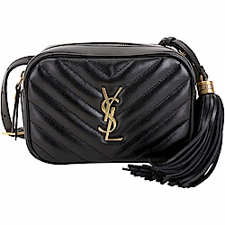 YSL Saint Laurent LOU 銅金字絎縫小牛皮流蘇胸肩包/