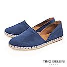 Tino Bellini 西班牙進口側鏤空平底麻編休閒鞋 _ 藍