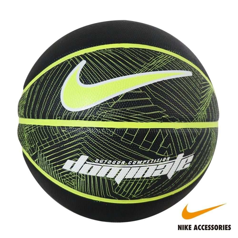 NIKE耐吉 DOMINATE 8P BLACK 7號籃球(黑底螢光黃勾)