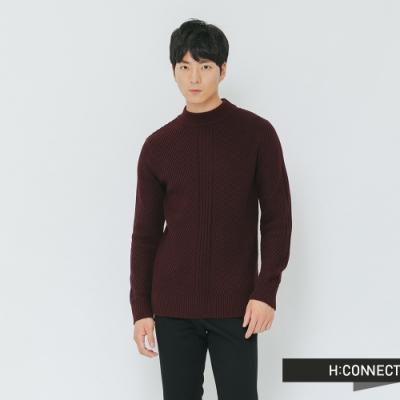 H:CONNECT 韓國品牌 男裝-簡約坑條針織上衣-紅(快)