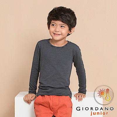 GIORDANO 童裝G-Warmer彈力舒適圓領極暖衣- 52 標誌黑/標誌灰