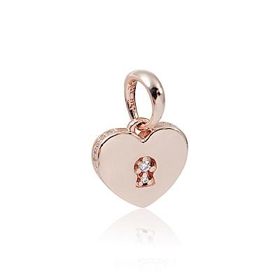 Pandora 潘朵拉 玫瑰金愛心鑰匙孔鑲鋯 垂墜純銀墜飾