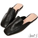 Ann'S軟綿舒適-復古打蠟真皮牛皮方頭穆勒平底拖鞋-黑