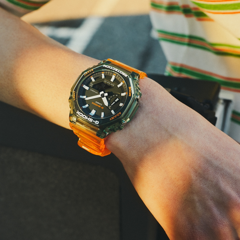 CASIO卡西歐 G-SHOCK 半透明 秘境海岸 綠x橘 八角形錶殼 GA-2100HC-4A_45.4mm