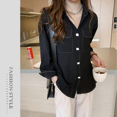 2F韓衣-簡約撞色線條造型襯衫-2色(S-XL)