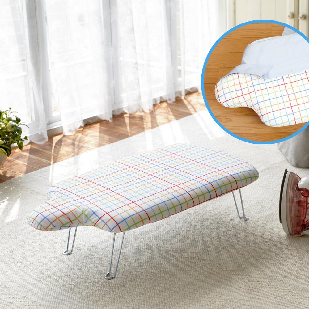 YAMAZAKI人型可掛式桌上型燙衣板-繽紛格紋
