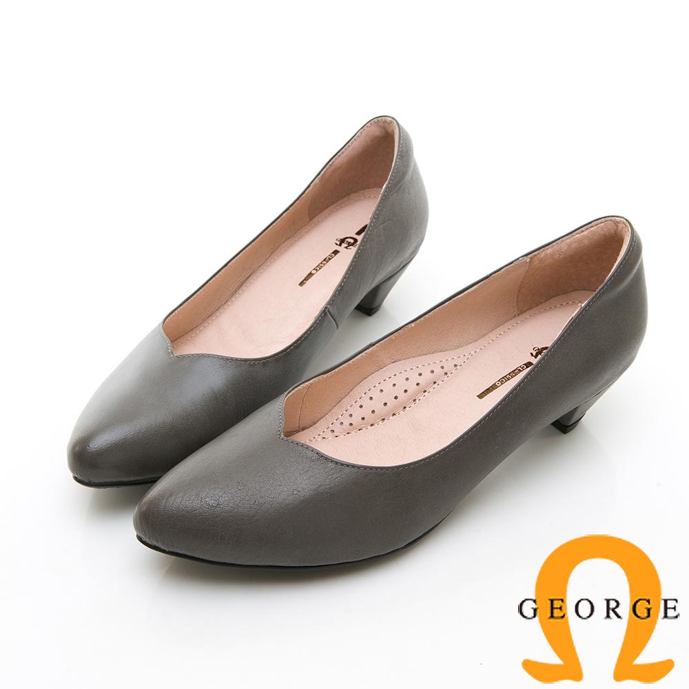【GEORGE 喬治皮鞋】全真皮素面尖頭低跟鞋-灰色