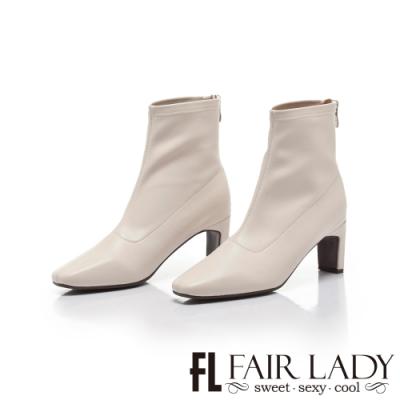 FAIR LADY纖腿對策.彈性皮革後拉鍊綁帶扁跟靴 米白