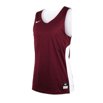 NIKE 男雙面籃球針織背心-無袖背心 慢跑 路跑 健身 訓練 暗紅白
