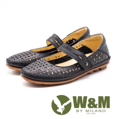 W&M 真皮 雕花簍空娃娃鞋 女鞋-黑(另有薰衣草紫)