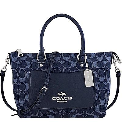 COACH 藍色單寧大C織紋手提/斜背兩用包