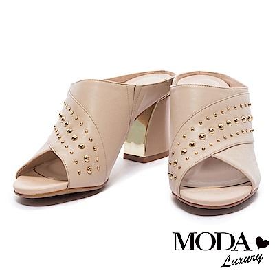 拖鞋 MODA Luxury 摩登優雅鉚釘造型牛皮魚口粗跟拖鞋-米