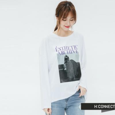 H:CONNECT 韓國品牌 女裝 - 黑白圖印長袖T-shirt-白(快)