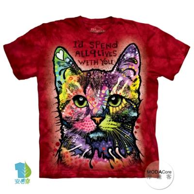 摩達客(預購)美國進口The Mountain 九命小紅貓 純棉環保短袖T恤