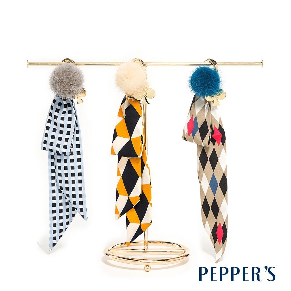 PEPPER'S  Reese 幾何絲巾啵啵球吊飾-3色