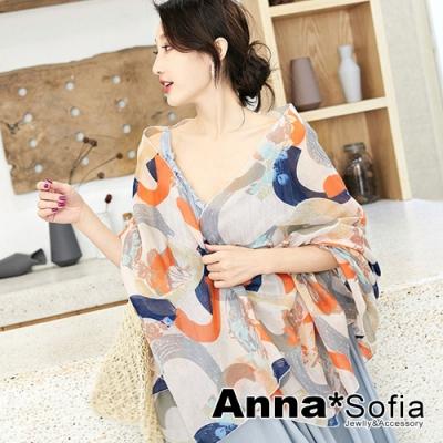 【2件450】AnnaSofia 刷圈騰幻 拷克邊韓國棉圍巾披肩(米橘系)