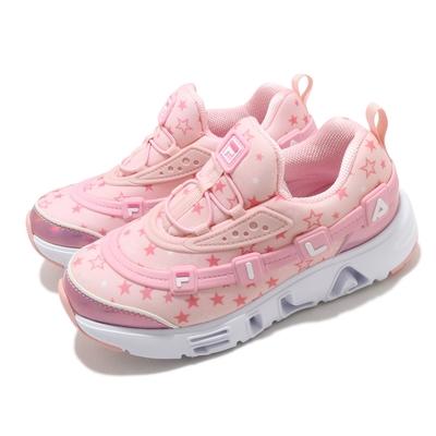 Fila 休閒鞋 GGUMI Light 襪套式 燈鞋 童鞋 斐樂 發光 滿版星星 立體LOGO 中童 粉 白 2C141V154