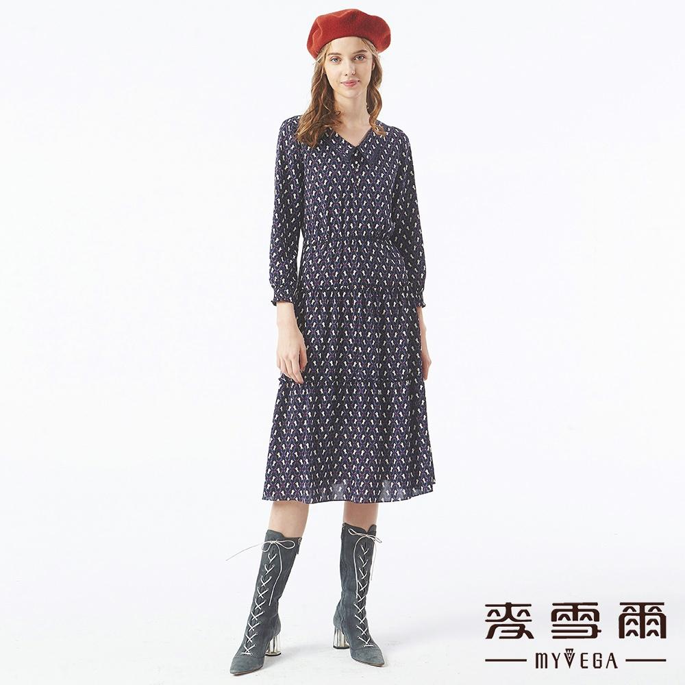 MYVEGA麥雪爾 獨角獸翻領雪紡長洋裝-黑