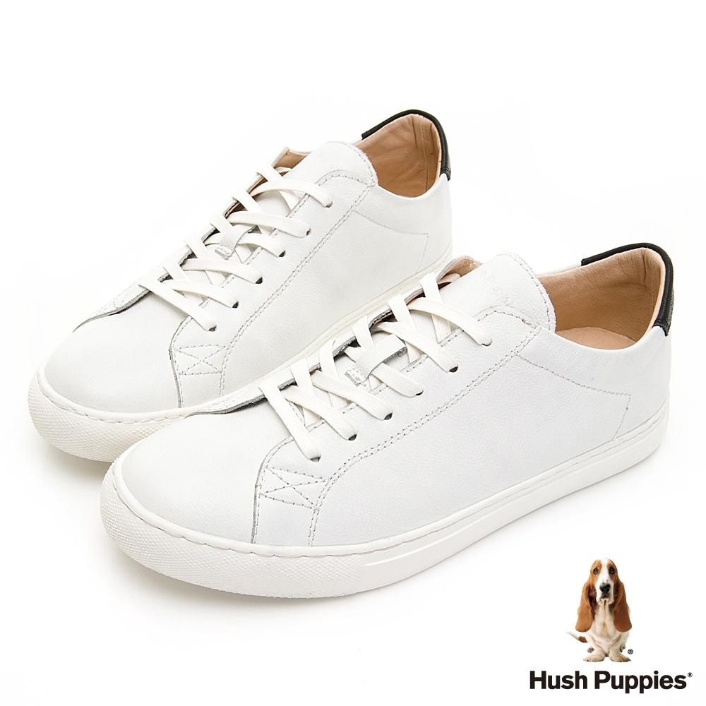 Hush Puppies 百搭皮革休閒男鞋-白色