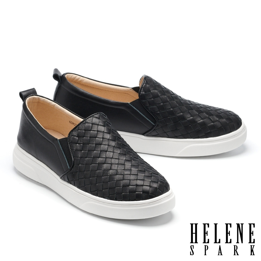 休閒鞋 HELENE SPARK 簡約率性編織全真皮厚底休閒鞋-黑