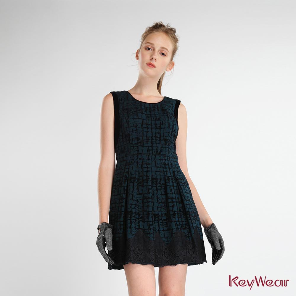 KeyWear奇威名品    經典印花無袖修身洋裝-藍綠色