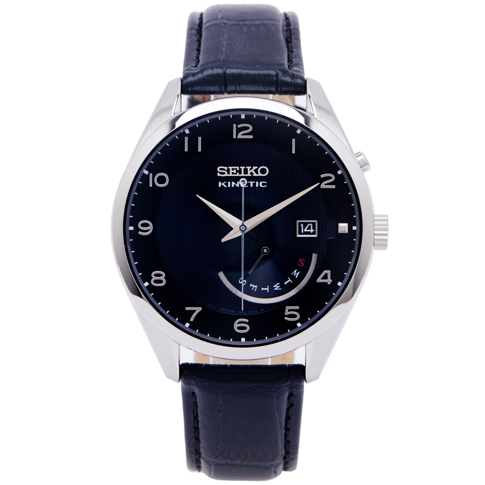SEIKO KINETIC 簡約經典款皮革錶帶機械錶手錶(SRN051P1)-黑色面X黑色/42mm