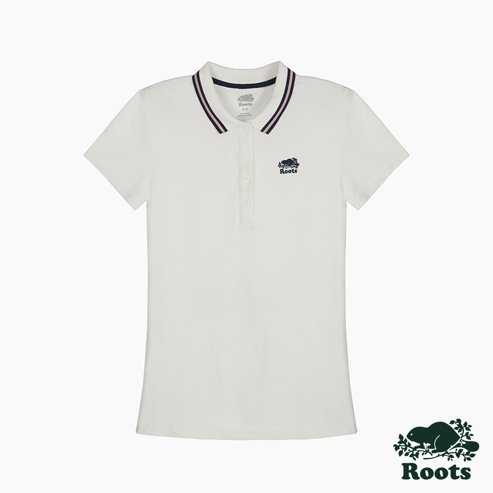 Roots 女裝- 海狸LOGO修身短袖POLO衫-白色