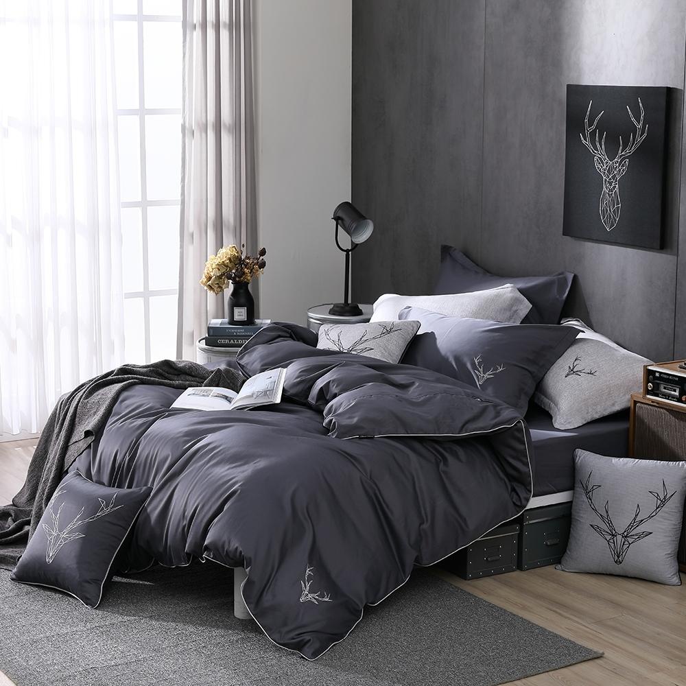 OLIVIA  Saul 鐵灰 標準雙人床包兩用被套四件組 300織匹馬棉系列 台灣製