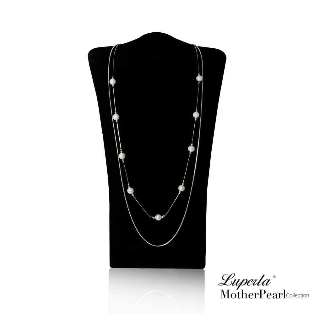 大東山珠寶 南洋貝寶珠長版項鍊 金屬風毛衣鍊 經典燦銀