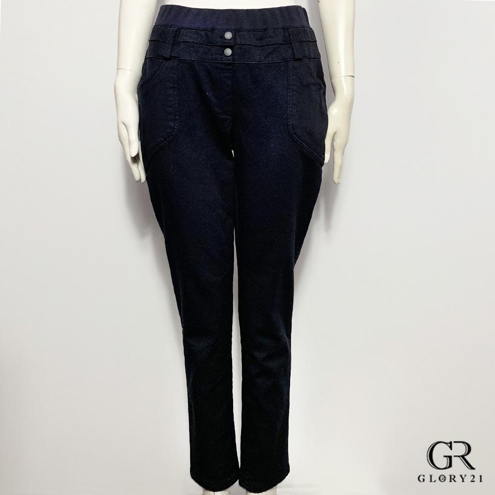 GLORY21腰頭久帶雙釦彈性褲_深藍