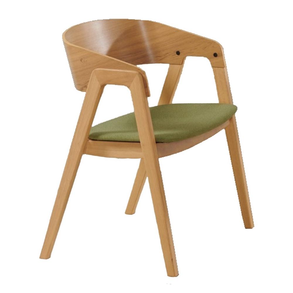 【AT HOME】北歐鄉村綠布實木腳餐椅/休閒椅/工作椅/洽談椅(宮羽)