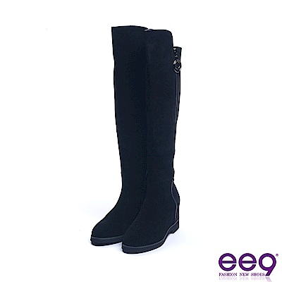 ee9 率性焦點素面百搭內增高粗跟膝上靴 黑色