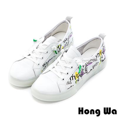 Hong Wa 歐美街頭塗鴉牛皮綁帶休閒鞋 - 白