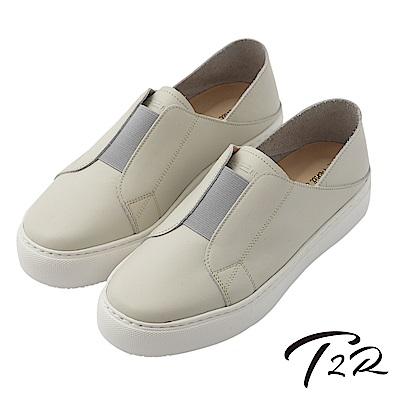 【T2R】真皮手工簡約時尚懶人鞋-灰