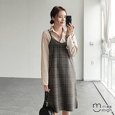 細肩帶格紋連身裙洋裝-mini嚴選 @ Y!購物