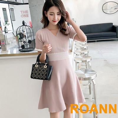 小香風V領拼接條紋針織洋裝 (共二色)-ROANN