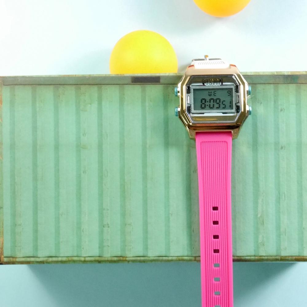 I AM 電子液晶 繽紛色彩 錶帶自由搭配 矽膠手錶-藍灰x玫瑰金x藍 33mm